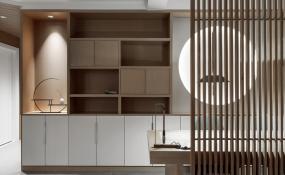 原木藕荷素雅色调,打造三代同堂的艺术屋